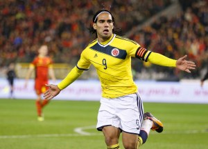 Colombia's Radamel Falcao celebrates his goal against Belgium during their international friendly soccer match at King Baudouin Stadium in Brussels November 14, 2013.        REUTERS/Francois Lenoir (BELGIUM  - Tags: SPORT SOCCER)    Picture Supplied by Action Images