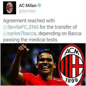 Carlos Bacc salah satu rekrutan termahal AC Milan